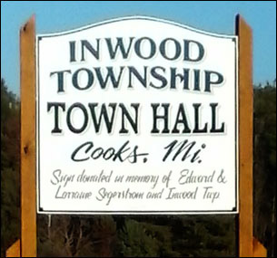 Inwood Township Hall sign